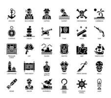 Elementos de pirata, ícones de glifo vetor
