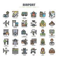 Ícones de aeroporto, ícones de linha fina vetor