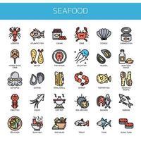 Frutos do mar, linha fina e ícones perfeitos de Pixel vetor