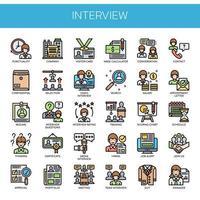 Entrevista, linha fina e ícones perfeitos de pixel vetor