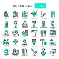 Barbearia, linha fina e ícones perfeitos de Pixel vetor