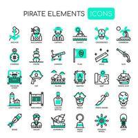 Elementos de pirata, linha fina e ícones perfeitos de Pixel vetor
