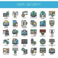 Segurança de dados, linha fina e ícones perfeitos de pixels vetor