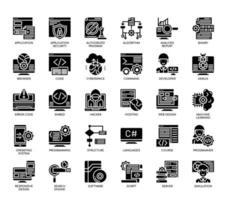Programação, ícones de glifo vetor