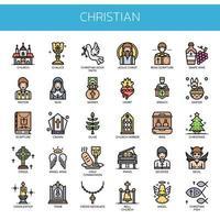 Elementos cristãos, linha fina e ícones perfeitos de Pixel vetor