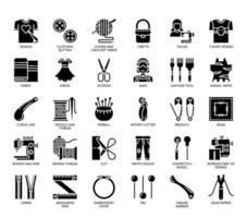 Elementos de costura, ícones de glifo vetor