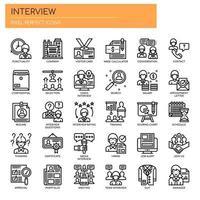 Entrevista, linha fina e ícones perfeitos de pixels vetor