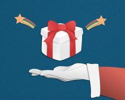 Feliz Natal com caixa de presente vetor