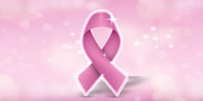 Banner de mês de conscientização de câncer de mama rosa vetor