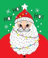 Desenhos animados bonitos Natal Papai Noel dizem ho ho ho vetor