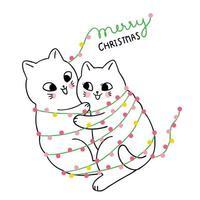 Gato bonito dos desenhos animados casal Natal abraçando vetor