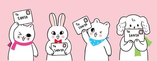 Desenhos animados bonitos animais de Natal e carta para o Papai Noel vetor