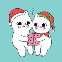 Presente e gatos de Natal casal vetor