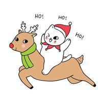 Rena e gato de Natal bonito dos desenhos animados vetor
