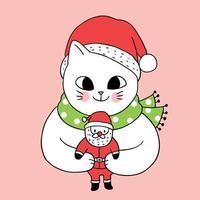 Gato bonito dos desenhos animados e boneca de Papai Noel vetor