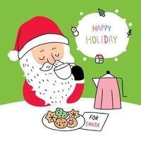 Desenhos animados bonitos Natal Papai Noel bebendo café vetor