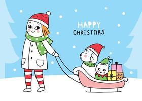 Natal mulher arrastando cão e gato sentado trenó vetor