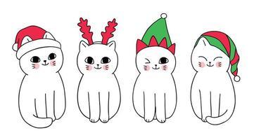 Desenhos animados bonitos gatos e chapéu de Natal vetor
