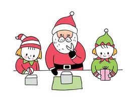 Papai Noel e duende fazendo presente vetor