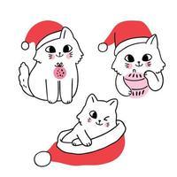 Gato de Natal bonito dos desenhos animados e chapéu de Papai Noel vetor