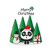 Cartão de feliz Natal. Panda e caixa de presente.
