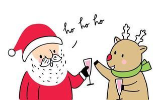 Desenhos animados bonitos Natal Papai Noel e Rena vetor