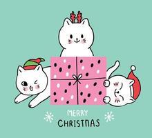 Presente e gatos de Natal bonito dos desenhos animados vetor