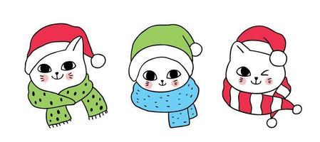 3 gatos bonitos de Natal dos desenhos animados vetor