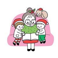 Avó de Natal bonito dos desenhos animados e crianças lendo livro vetor