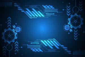 Quadro de exibição azul brilhante tecnologia digital vetor