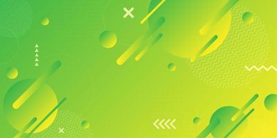 Formas retrô abstratas geométricas verdes amarelas coloridas vetor