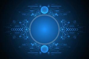 Design de engrenagem futurista circular azul brilhante