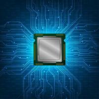 Projeto abstrato da CPU com placa de circuito brilhante vetor
