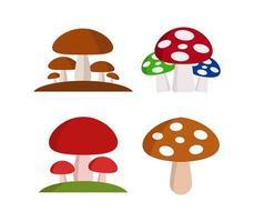 conjunto de ícones de cogumelos em um fundo branco vetor
