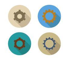 Conjunto de ícones de engrenagem em um fundo branco