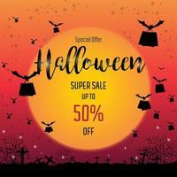 Morcegos voando com banners de venda de sacolas de Halloween