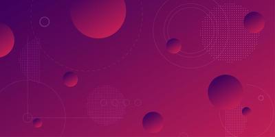 Fundo gradiente roxo rosa com esferas 3d flutuantes vetor