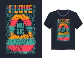 Eu amo o design colorido da camisa da música T vetor