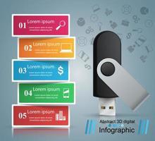 Ícone do flash USB. Infográfico de negócios. vetor