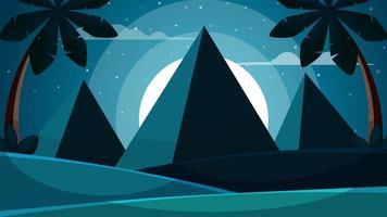 Paisagem do Egito dos desenhos animados. Pirâmide, sol, ilustração de palma. vetor
