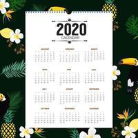 Design de calendário tropical 2020 vetor