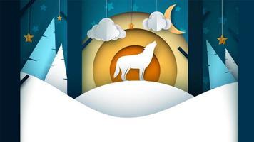Paisagem de papel dos desenhos animados. Ilustração de lobo. Árvore, abeto, nuvem, lua, neve, colina.