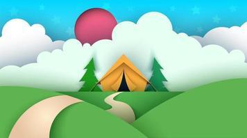 Paisagem de papel dos desenhos animados. Barraca, árvore de Natal, nuvem, céu, projeto estrela.