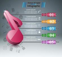 Nota da música - infográfico de negócios abstratos. vetor