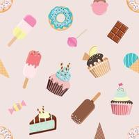 Padrão sem emenda de aniversário com doces diferentes. vetor