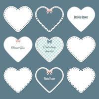 Conjunto de guardanapos Landim bonitos em forma de coração. vetor