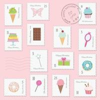 Conjunto de selos postais de aniversário vetor