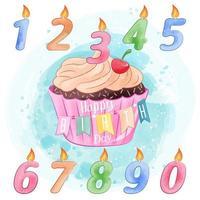 Cupcake de aniversário e vela aquarela Design vetor