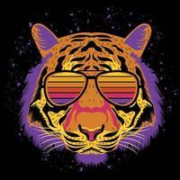 ilustração de cara de tigre para design de camiseta