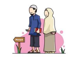 Personagens de casal muçulmano vetor